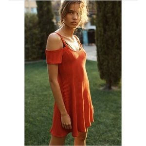 Urban Outfitters Red Ribbed Cold Shoulder Dress S